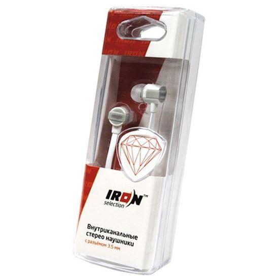 Изображение Нaушники IRON Selection Diamond вакуумные для MP3 H-108В (колба) белые