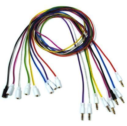 Изображение  Стерео кабель-удлинитель 3.5 Jack (M) - 3.5 Jack (F) 1 метр силиконовый круглый