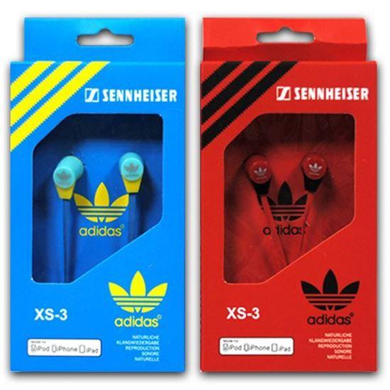 Изображение Наушники вакуумные Adidas XS-3 (MP3, CD, iPod, iPhone, iPad) в коробке голубые