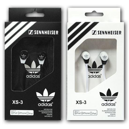 Изображение Наушники вакуумные Adidas XS-3 (MP3, CD, iPod, iPhone, iPad) в коробке чёрные