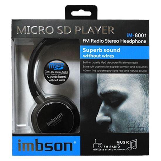 Изображение MP3 плеер-стереонаушники накладные iMBSON iM-8001 (FM, TF MicroSD) чёрные