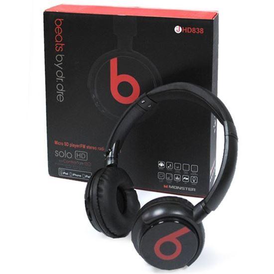 Изображение MP3 плеер-стереонаушники накладные Monster HD838 (iPod, iPhone,TF MicroSD, FM) чёрные