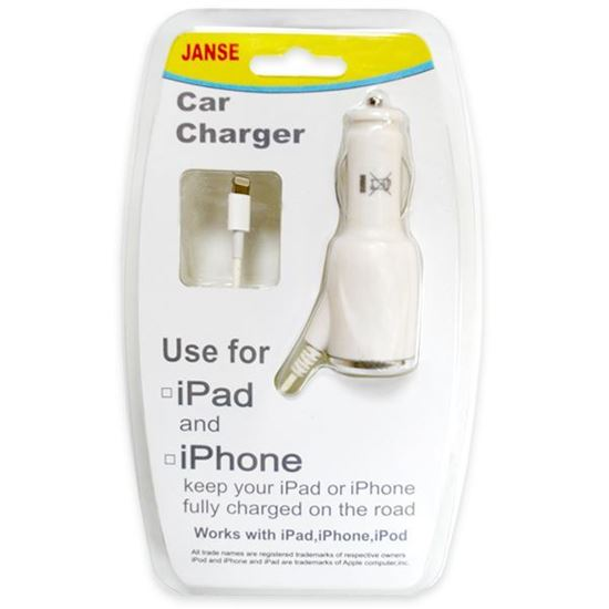 Изображение Автомобильное з/у new для iPhone 5/5S/5C/iPad Mini/iPod Nano 7 в блистере