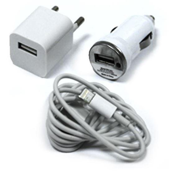 Изображение Набор 3 в 1 автомобильное и сетевое з/у USB + кабель для iPhone 5/5S/5C в пакете белый