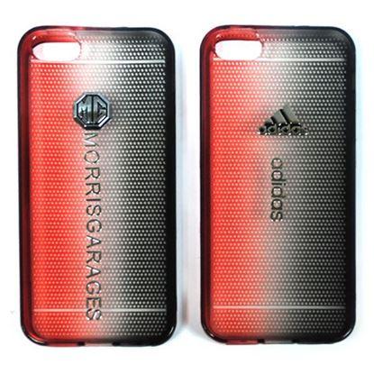 Изображение Задняя панель для iPhone 4/4S силиконовая Tiny Hole с логотипом Adidas чёрно-красная