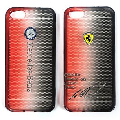 Изображение Задняя панель для iPhone 4/4S силиконовая Tiny Hole с логотипом Ferrari чёрно-красная