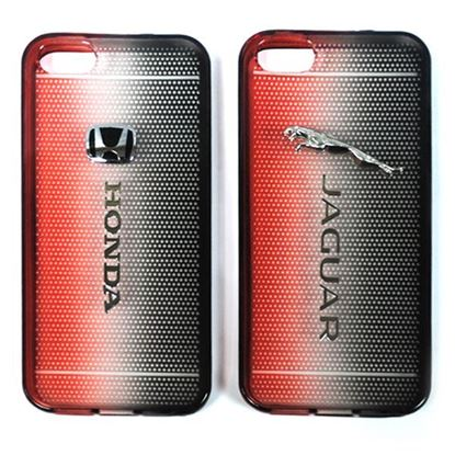 Изображение Задняя панель для iPhone 4/4S силиконовая Tiny Hole с логотипом Honda чёрно-красная