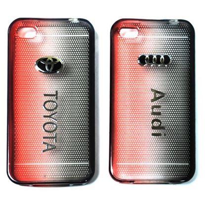 Изображение Задняя панель для iPhone 4/4S силиконовая Tiny Hole с логотипом AUDI чёрно-красная
