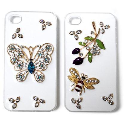 Изображение Задняя панель для iPhone 6 Deluxe пластиковая со стразами белая Бабочка с камнем