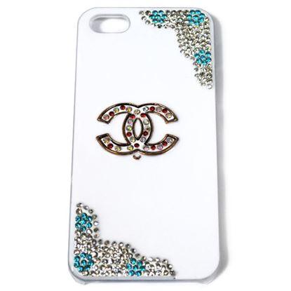 Изображение Задняя панель для iPhone 6 Deluxe пластиковая со стразами белая Chanel