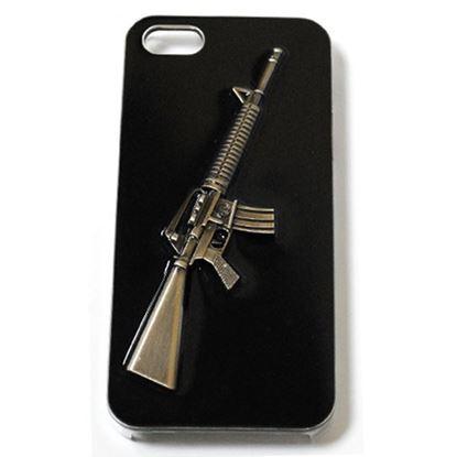 Изображение Задняя панель для iPhone 4/4S Military Style пластиковая чёрная Винтовка М-16