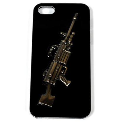 Изображение Задняя панель для iPhone 4/4S Military Style пластиковая чёрная Автомат-пулемёт