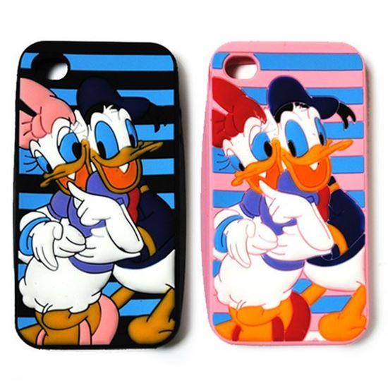 Изображение Задняя панель для iPhone 5/5S резиновая Donald and Daisy на чёрном