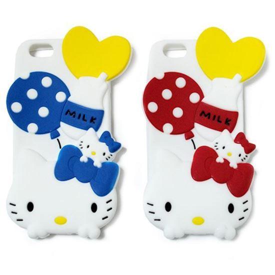 Изображение Задняя панель для iPhone 5/5S резиновая Hello Kitty Milk красная