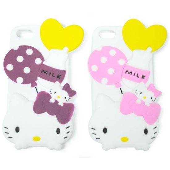 Изображение Задняя панель для iPhone 5/5S резиновая Hello Kitty Milk малиновая