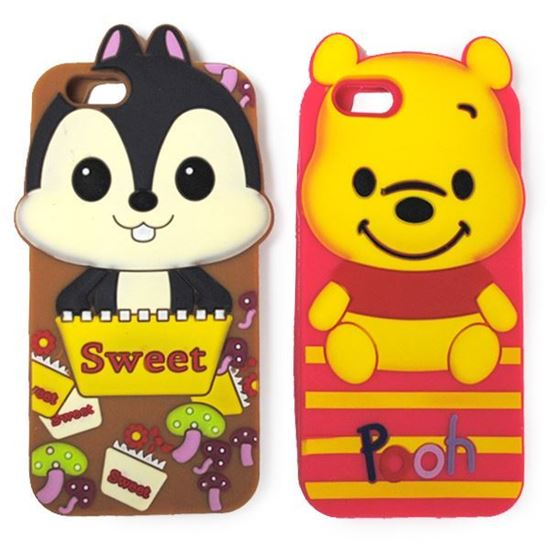 Изображение Задняя панель для iPhone 5/5S резиновая Pooh розовая полосатая