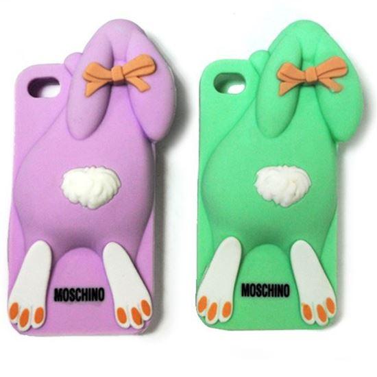 Изображение Задняя панель для iPhone 6 резиновая Кролик розовый
