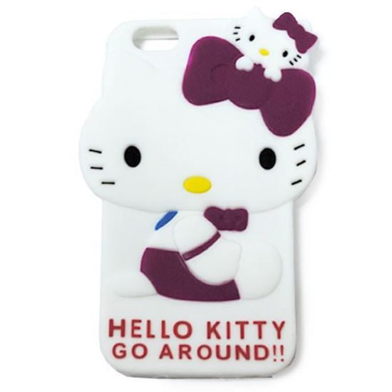 Изображение Задняя панель для iPhone 6 резиновая Hello Kitty Go Around малиновая