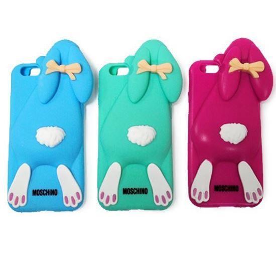 Изображение Задняя панель для iPhone 6 резиновая Кролик голубой
