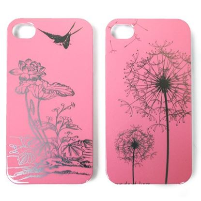 Изображение Задняя панель для iPhone 5/5S пластиковaя лаковая розовая Кувшинка и ласточка