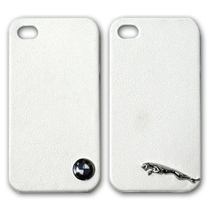 Изображение Задняя панель для iPhone 4/4S пластиковая с кожей и лoготипом BMW белая