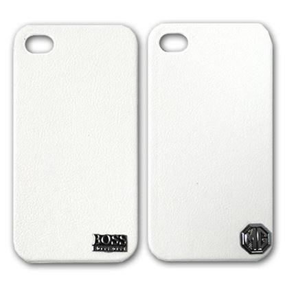 Изображение Задняя панель для iPhone 4/4S пластиковая с кожей и лoготипом Boss белая