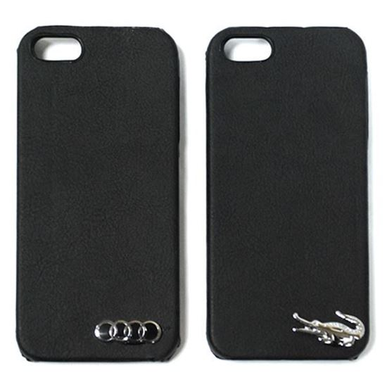 Изображение Задняя панель для iPhone 4/4S пластиковая с кожей и логотипом AUDI чёрная