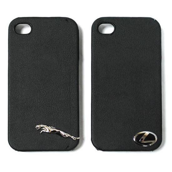 Изображение Задняя панель для iPhone 4/4S пластиковая с кожей и логотипом Jaguar чёрная