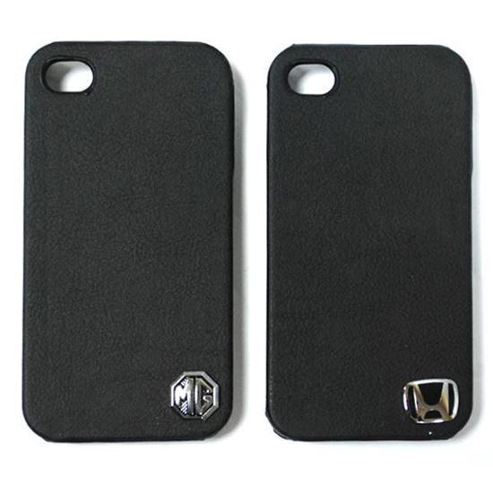 Изображение Задняя панель для iPhone 4/4S пластиковая с кожей и логотипом MG чёрная