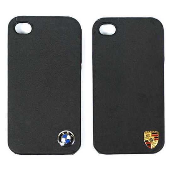 Изображение Задняя панель для iPhone 4/4S пластиковая с кожей и логотипом Porsche чёрная