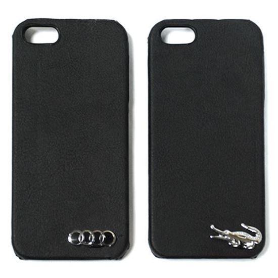 Изображение Задняя панель для iPhone 5/5S пластиковая с кожей и логотипом Lacoste чёрная