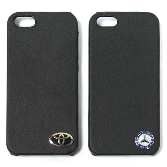 Изображение Задняя панель для iPhone 5/5S пластиковая с кожей и логотипом Mercedes чёрная