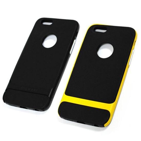 Изображение Задняя панель для iPhone 6 Spigen прорезиненная с окошком чёрно-жёлтая