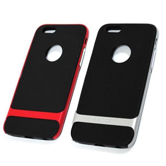 Изображение Задняя панель для iPhone 6 Spigen прорезиненная с окошком чёрно-серебристая