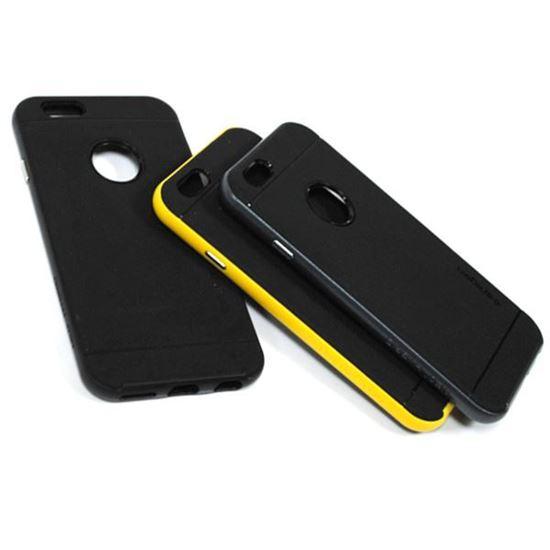 Изображение Задняя панель для iPhone 6 Spigen резиновая с окошком чёрно-жёлтая
