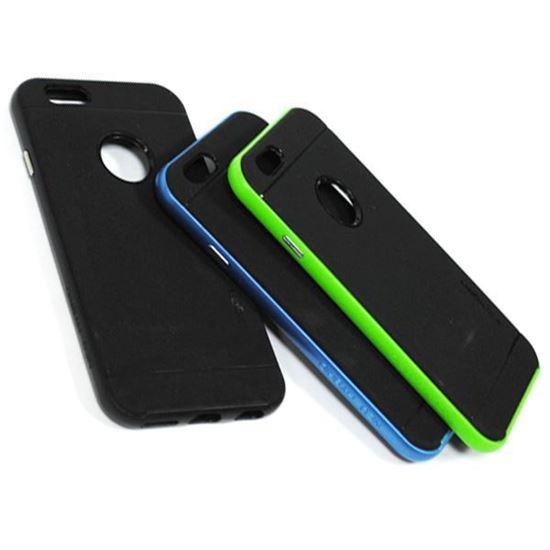 Изображение Задняя панель для iPhone 6 Spigen резиновая с окошком чёрно-зелёная