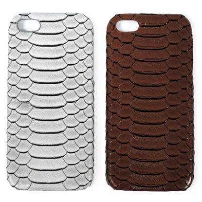 Изображение Задняя панель для iPhone 4/4S пластиковая с кожей кобра коричневая