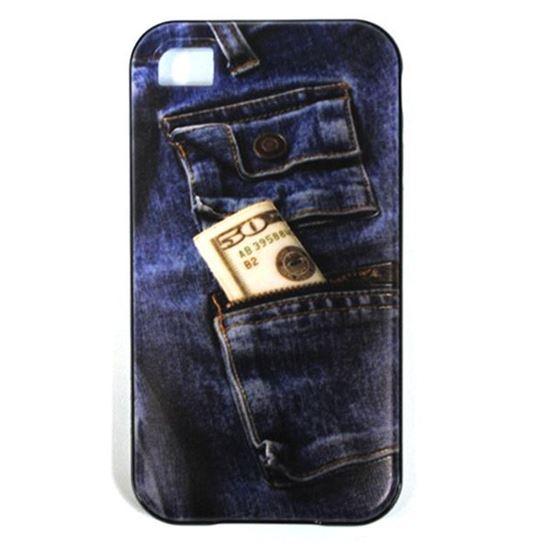 Изображение Задняя панель для iPhone 4/4S резиновая с бампером Jeans Dollar