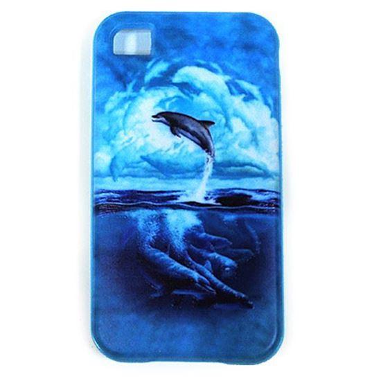 Изображение Задняя панель для iPhone 4/4S резиновая с бампером Дельфины
