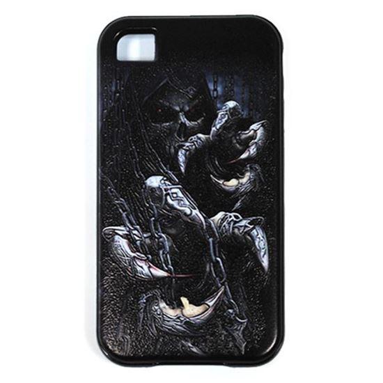 Изображение Задняя панель для iPhone 4/4S резиновая с бампером Скелет с цепями