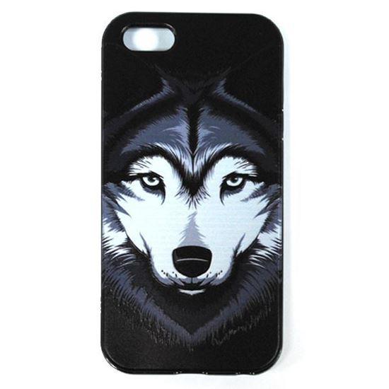 Изображение Задняя панель для iPhone 5/5S рeзиновая с бампером Face Волк