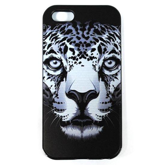 Изображение Задняя панель для iPhone 5/5S рeзиновая с бампером Face Леопард