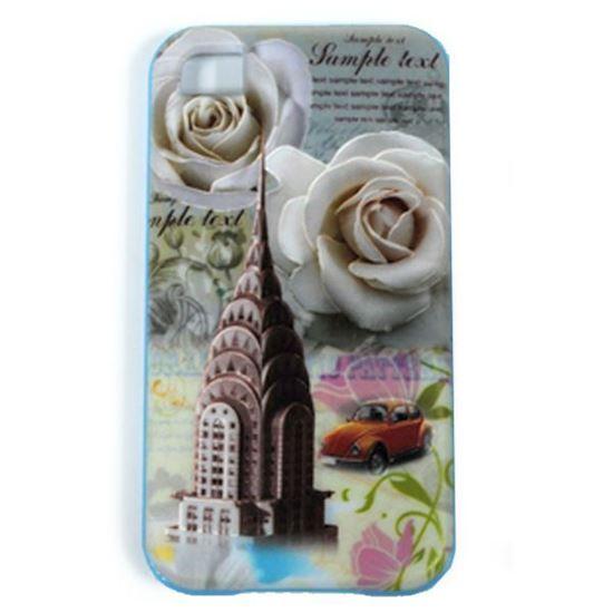 Изображение Задняя панель для iPhone 5/5S резиновая с бампером Chrysler Building с розами