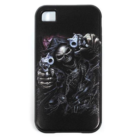 Изображение Задняя панель для iPhone 5/5S резиновая с бампером Скелет с пистолетами