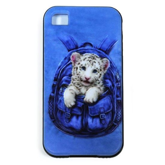 Изображение Задняя панель для iPhone 5/5S резиновая с бампером Тигрёнок белый