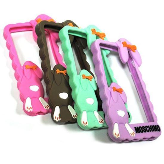 Изображение Бампер резиновый для iPhone 4/4S Кролик розовый