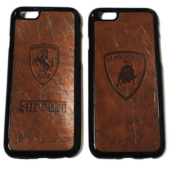 Изображение Задняя панель для iPhone 6 Plus резиновая с кожей Lamborgini коричневая