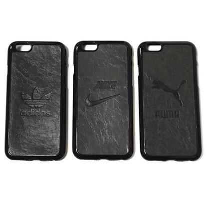 Изображение Задняя панель для iPhone 6 Plus резиновая с кожей Nike тёмно-серая