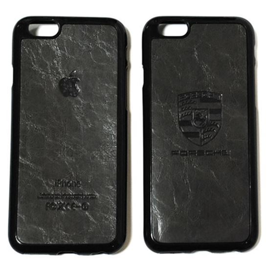 Изображение Задняя панель для iPhone 6 Plus резиновая с кожей Porsche тёмно-серая