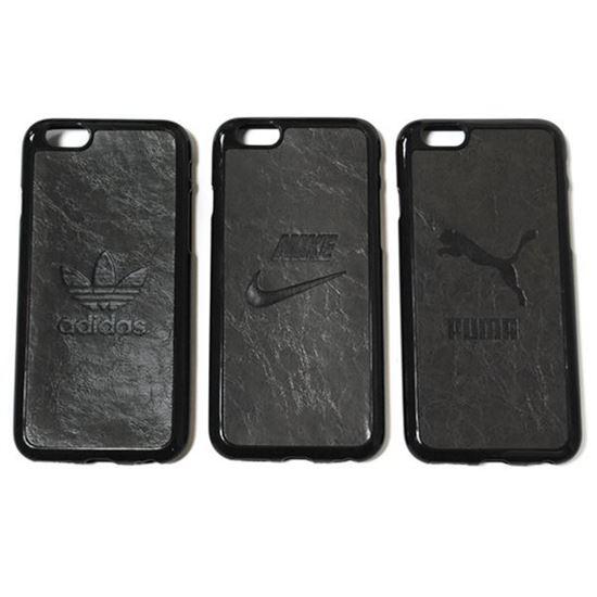 Изображение Задняя панель для iPhone 6 резиновая с кожей Adidas тёмно-серая
